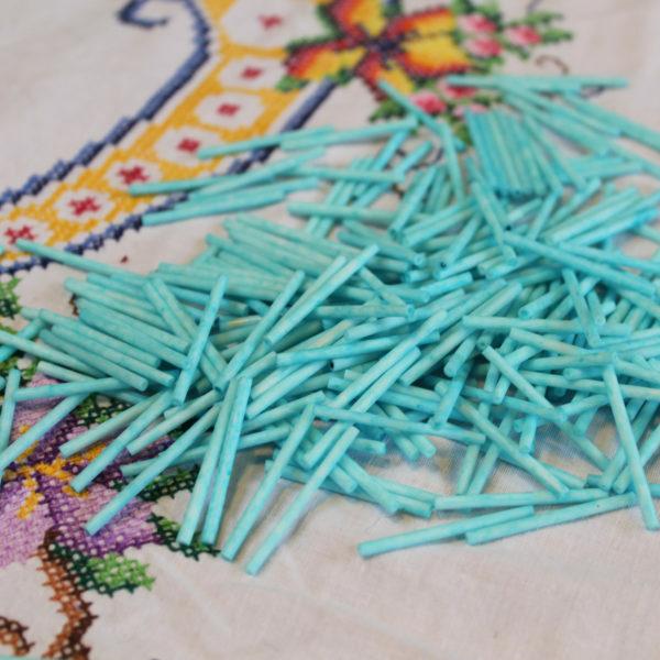 Long Aqua Blue Bugle Beads