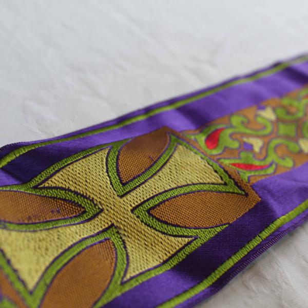 Purple and Gold Cross Design Ribbon