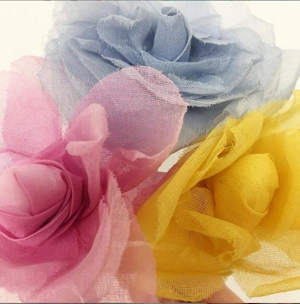 organdie rose, organdie, rose, flower, fabric flower, fabric manipulation,