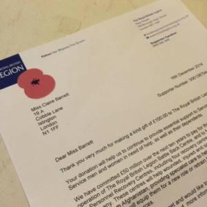 British Legion Poppy Appeal Class Donation