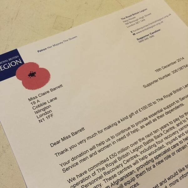 British Legion Poppy Appeal Class Donation