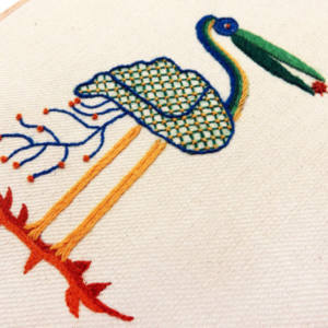 crewelwork, embroidery, class, evening class, sewing, bird