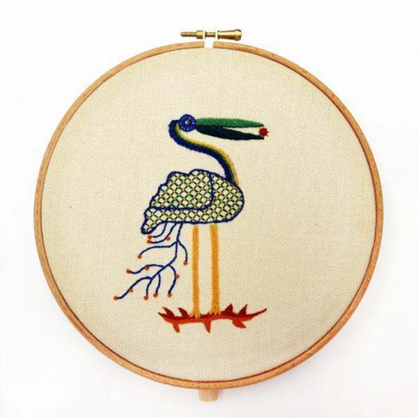 crewelwork, embroidery, class, evening class, sewing, bird