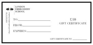 Gift Certificates Christmas 2018 London Embroidery School