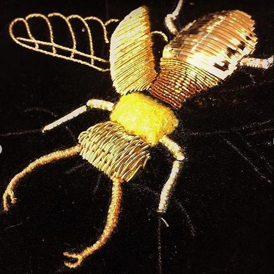 goldwork, gold work, beetle, cutwork, techniques, hand embroidery, embroidery, course, student,