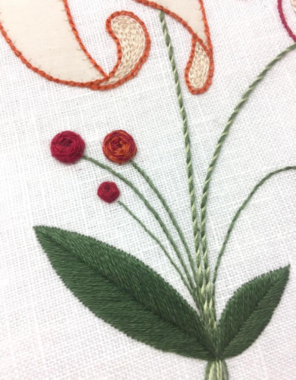 embroidery, introduction to embroidery, beginners, blue flower, sewing, textiles, online class, kit