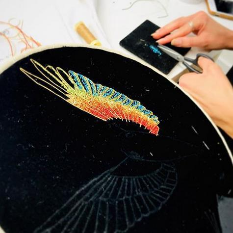 goldwork, gold work, chipping, pearls purl, feathers, colour