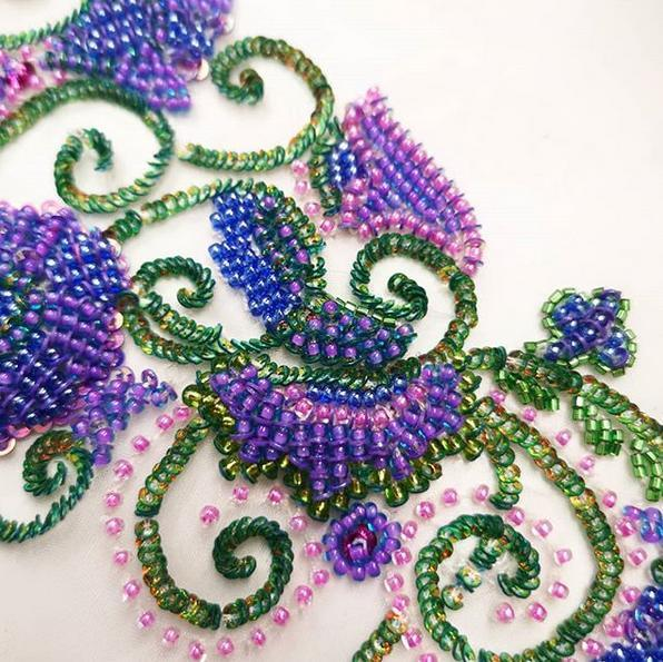 tabour, tambour beading, beading, bead, couture, embroidery, tabour stitch, sequins