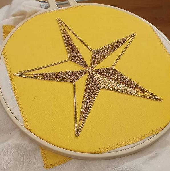 student of the month, goldwork, gold work, star, goldwork star, wire, beading, chipping, Christmas
