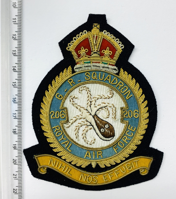 RAF 206th Squadron Blazer Badge, Gold Badge, Cap Badge,Blazer, badge, Cap, Cap Badge, Blazer Badge, Vintage badge, military, military badge, military button