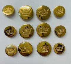 Naval Crown Button, button, gold button, military button, military, gold, label, embellishment, accessory
