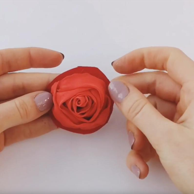 Online Embroidery Classes, rose, Valentino rose, fabric rose, flower, floral red flower, tucking, fabric manipulation