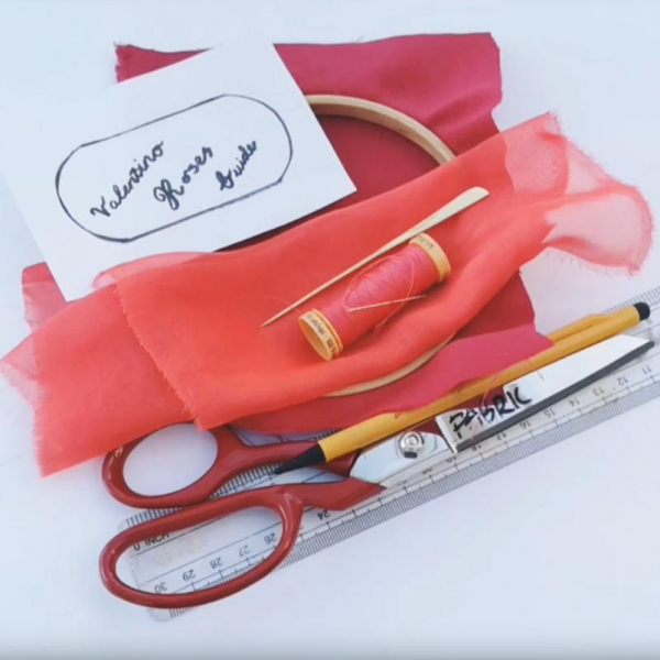 online class, rose, Valentino rose, fabric rose, flower, floral red flower, tucking, fabric manipulation, equipment, kit,