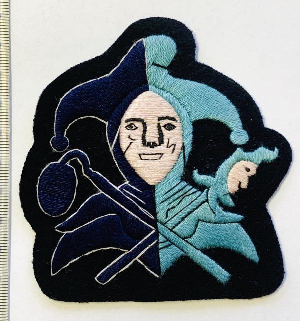 Jester Blazer badge, Pink Face,Navy Base, Jester, badge, Cap, Cap Badge, Blazer Badge, Vintage badge, military, military badge, military button