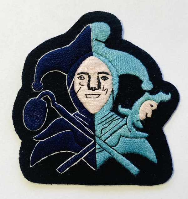 Jester Blazer badge, Pink Face, navy base, Jester, badge, Cap, Cap Badge, Blazer Badge, Vintage badge, military, military badge, military button