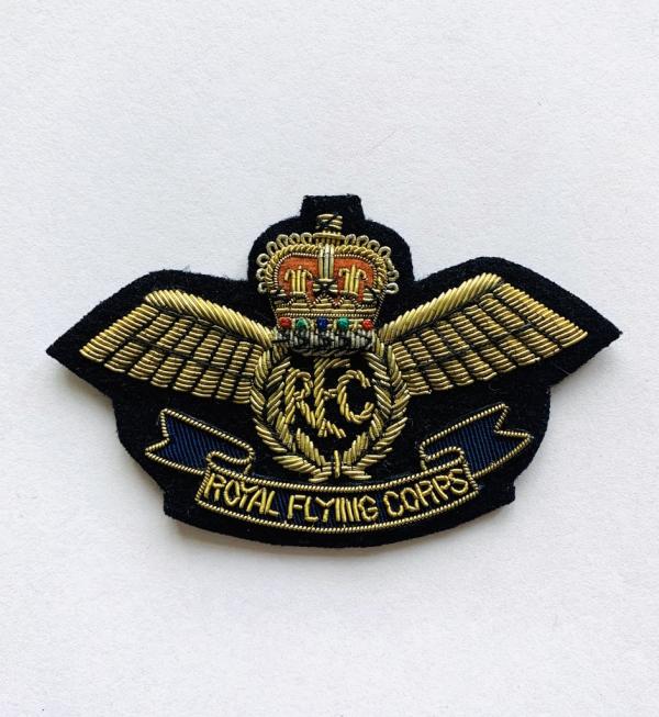 Royal Flying Corps Blazer Badge, Gold, Blazer, badge, Cap, Cap Badge, Blazer Badge, Vintage badge, military, military badge, military button