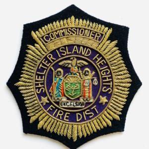 Shelter Island Heights Fire District blazer badge, badge, Blazer Badge, Vintage badge, military, military badge, military button