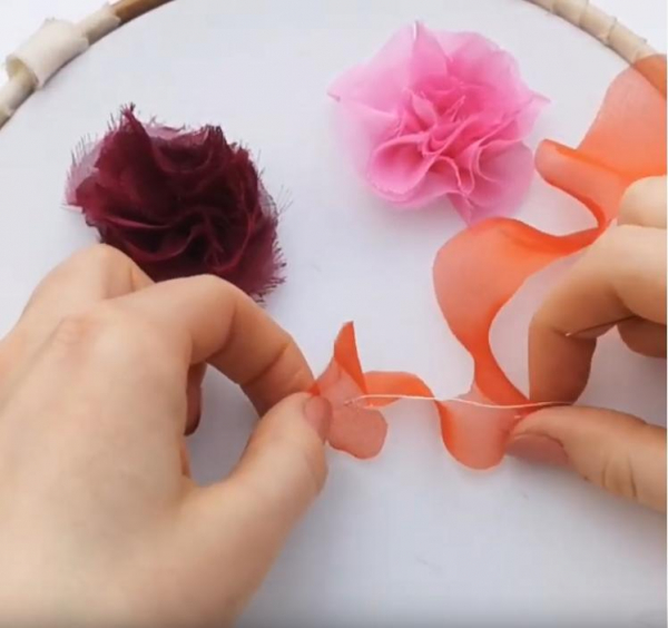 chiffon Rose, rose, fabric rose, fabric manipulation, design outcome,