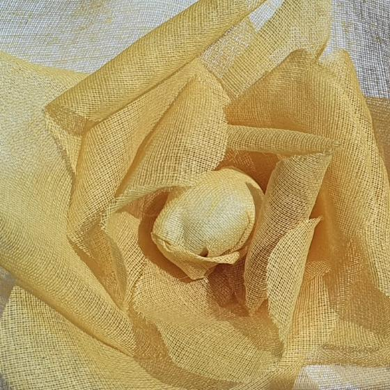 organdie rose, fabric rose, rose, floral, flower, yellow flower, fabric manipulation, design outcome, petals