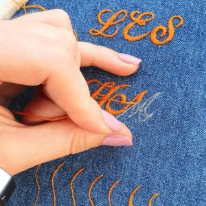 Monogram, monogramming, lettering, online class, kit, equipment, organge stitch, thread, embroidery