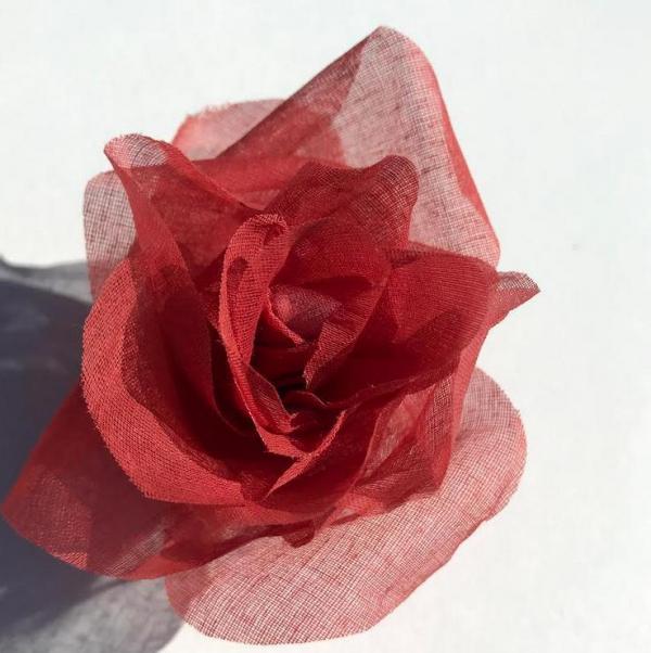 fabric flower, Organdie Rose, Rose, Pink Flower, Pink Rose, Fabric Rose, yellow Rose, fabric Manipulation, Embroidery, sewing, Terracotta Orange