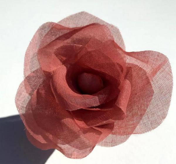 fabric flower, Organdie Rose, Rose, Pink Flower, Pink Rose, Fabric Rose, Pink Rose, fabric Manipulation, Embroidery, sewing, Rosewood Pink