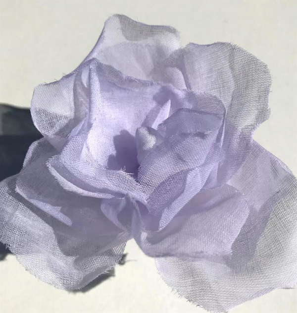 fabric flower, Organdie Rose, Rose, Pink Flower, Pink Rose, Fabric Rose, Lilac Rose, fabric Manipulation, Embroidery, sewing, Lavender Lilac