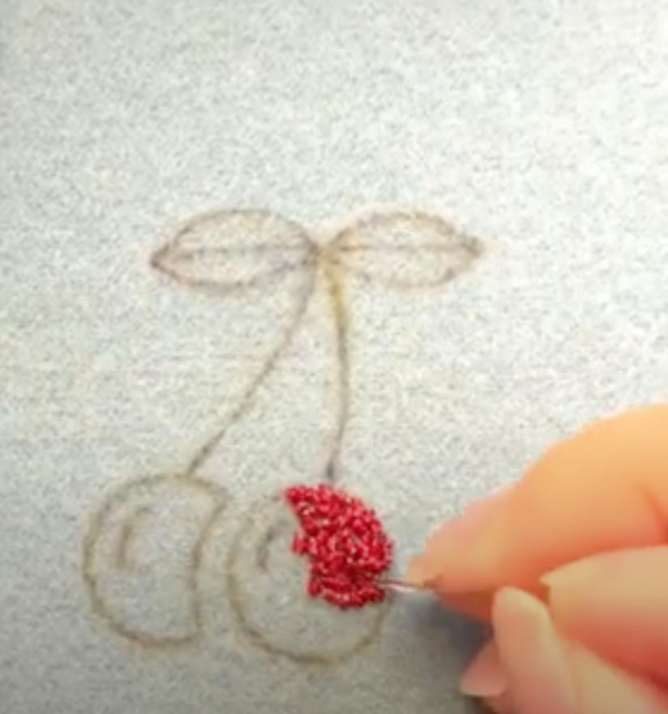 goldwork, gold work, Goldwork cherry, cherry, fruit, embroidery, online class, kit, chipping, red, gold, equipment