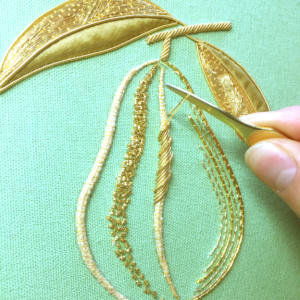 goldwork, gold work, product outcome, gold wire, embroidery, appliqué, padding, chipping, final outcome, couching, Mellor