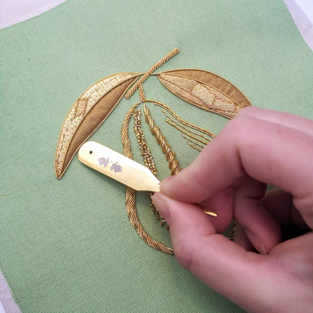 goldwork, gold work, product outcome, gold wire, embroidery, appliqué, padding, chipping, final outcome, couching, online class, pear class, Mellor, Hand
