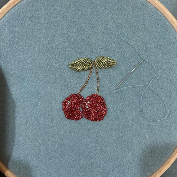 Goldwork, Gold work, Online Class, Cherry, Cherry Kit, Chipping, Embroidery, Embellishment, Student of the month, introduction class
