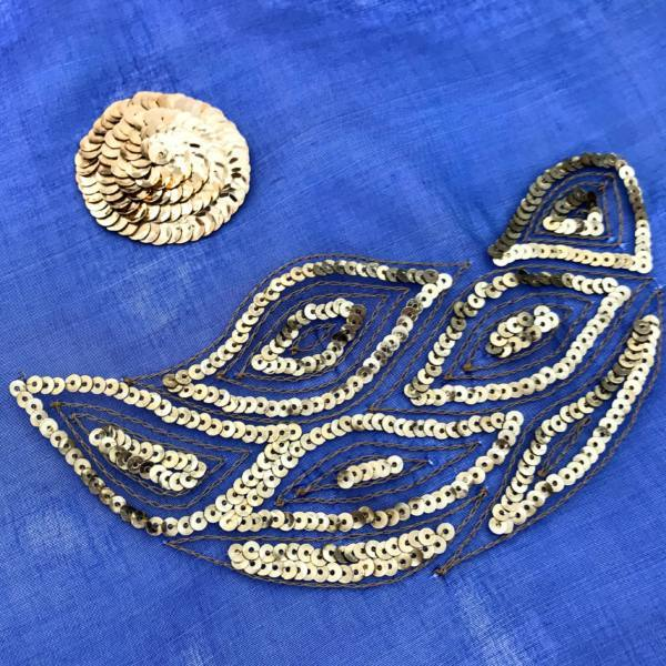 Tambour, Tambour beading, Sequins, Gold Sequins, Blue Fabric, Embroidery, Embellishments, Beads, beading