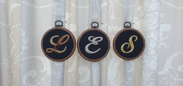 Gold work, goldwork, Embroidery Hoop, Couching, Equipment, Monogram, Monogramming, Lettering, Chipping, embellishments, product outcome, online class,
