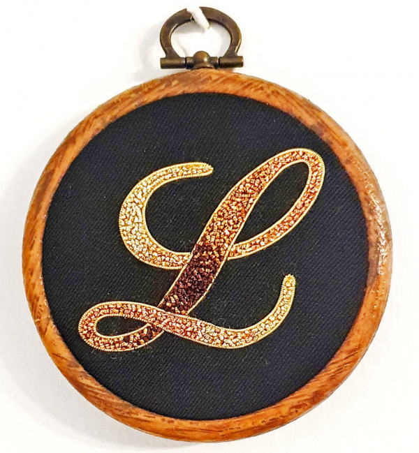 Gold work, goldwork, Monogram, Pearle Purl, Wire, Monogramming, Lettering, Chipping, embellishments, product outcome, online class,