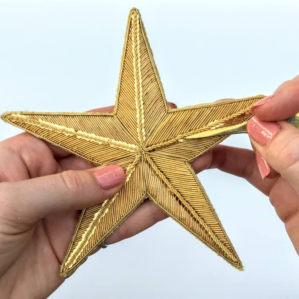 goldwork, gold work, goldwork star, product outcome, embroidery, advance, classes, kits, star, gold star, couching, wire,