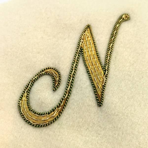 goldwork, gold work, couching, embroidery, lettering, letter, monogram, monogramming, goldwork monogramming, product outcome