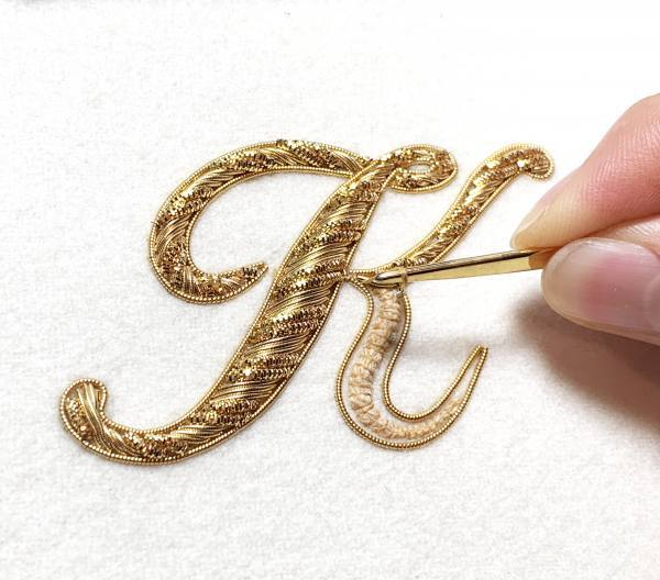 Goldwork, Gold Work, Embroidery, Padding, Cutwork, Gold, appliqué, embellishments, stitching, beading, letter, lettering, monogram, monogramming