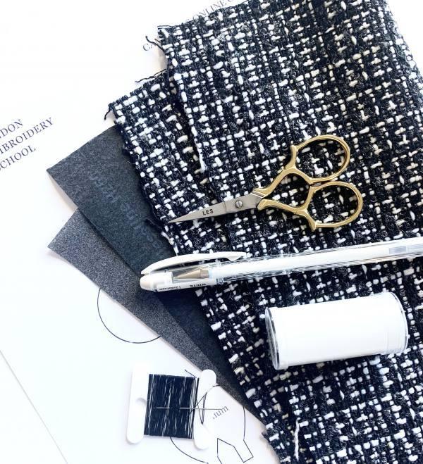 online class, kits, stitching kits, textiles kits, tweed, fabric, thread,