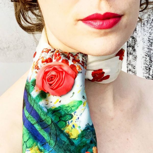 rose flower, Valentino rose, flower, red flower, scarf, brooch, brooch bar, flower pin, flower clip, rose, product outcome, accessories