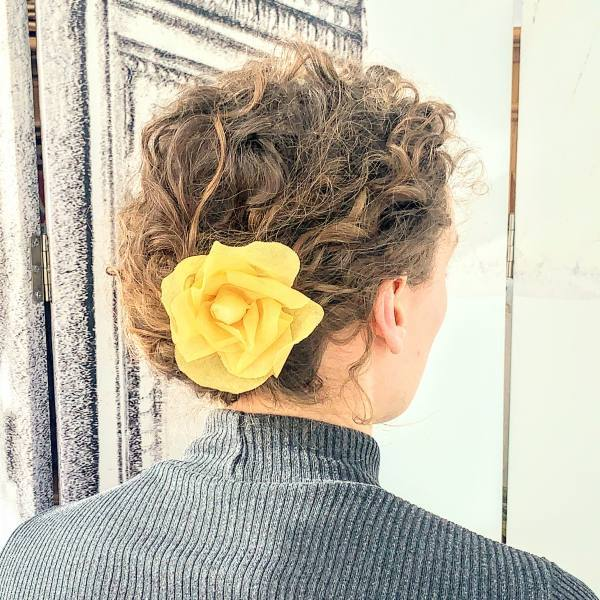 rose barrette, hair flower accessories, hair flowers, fabric flowers, yellow flowers, barrette, fabric rose, outcome product
