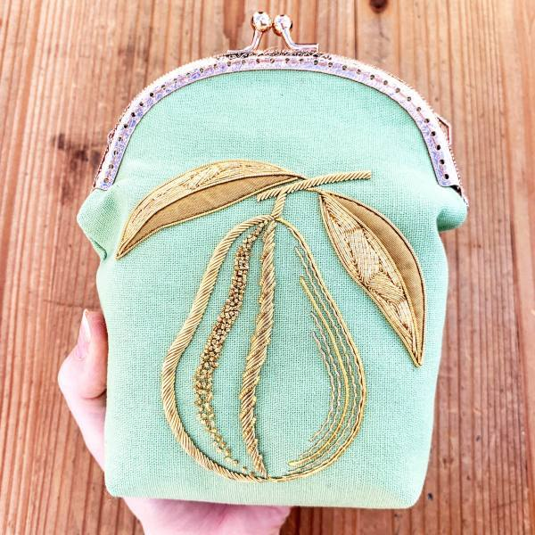 goldwork, gold work, pear, bag, small bag, online class, embellishment, embroidery, chipping, padding, bag, green bag, clasp, bag clasp, product outcome