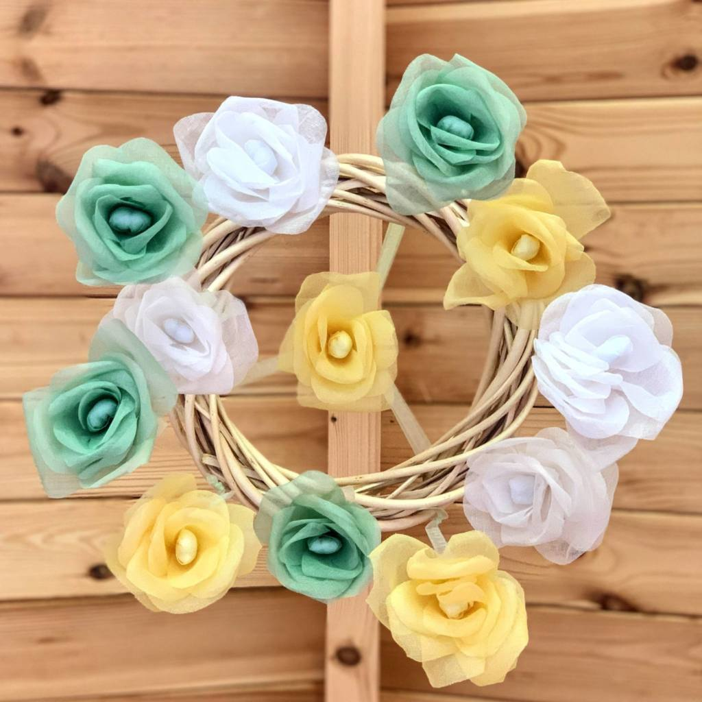 roses, rose wreath, rose baby mobile, willow wreath
