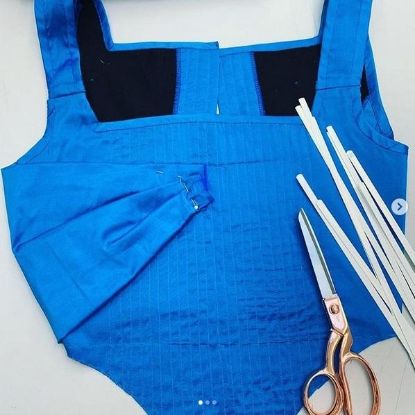 blue fabric, bodice, cloth, dressmaking