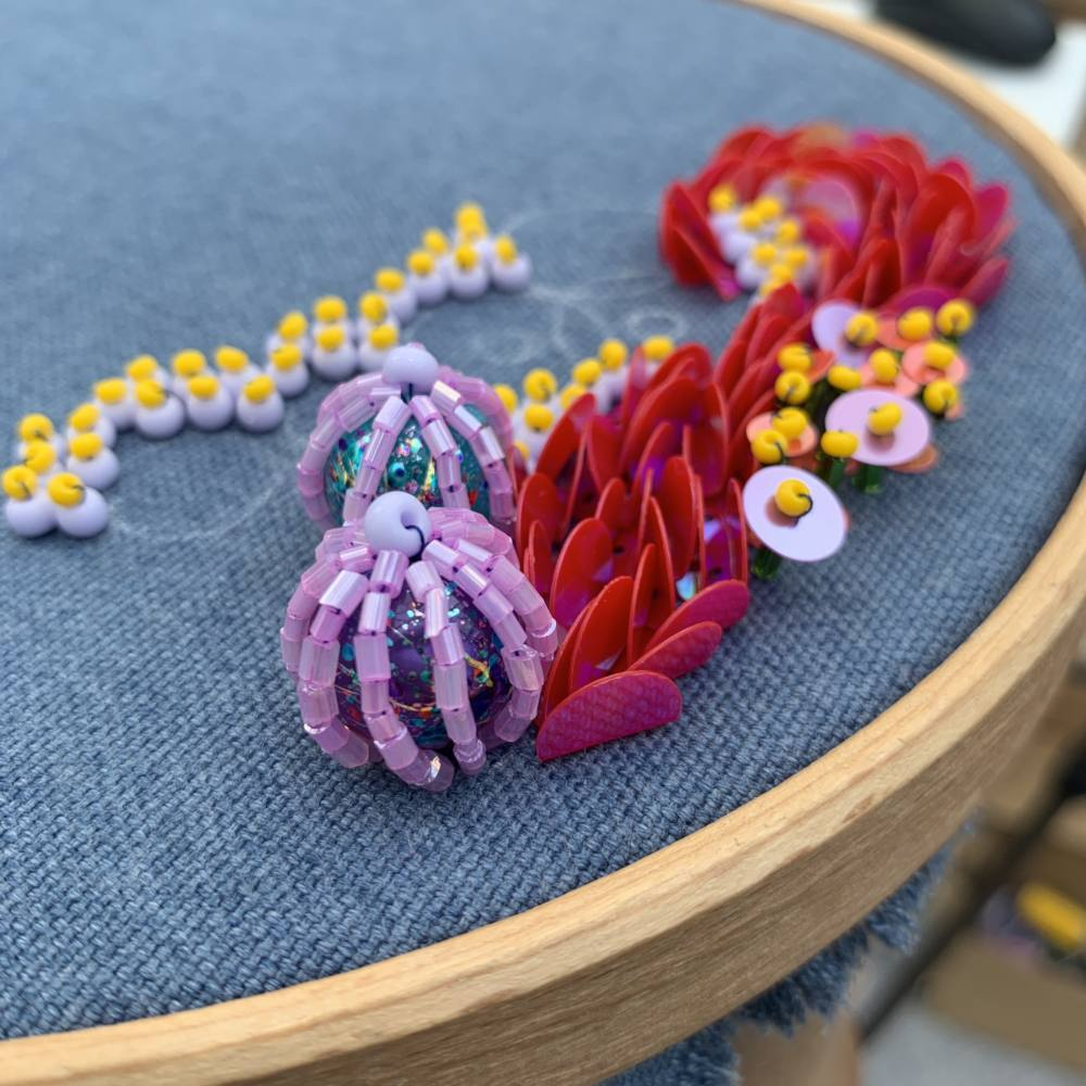 beading, beads, texture, 3d beading, couture beads, coral, stitch along,