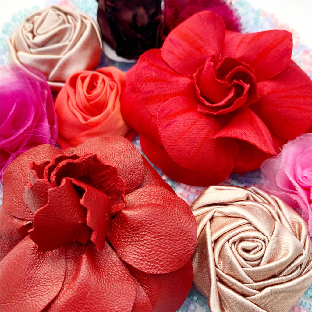 red flowers, fabric flowers